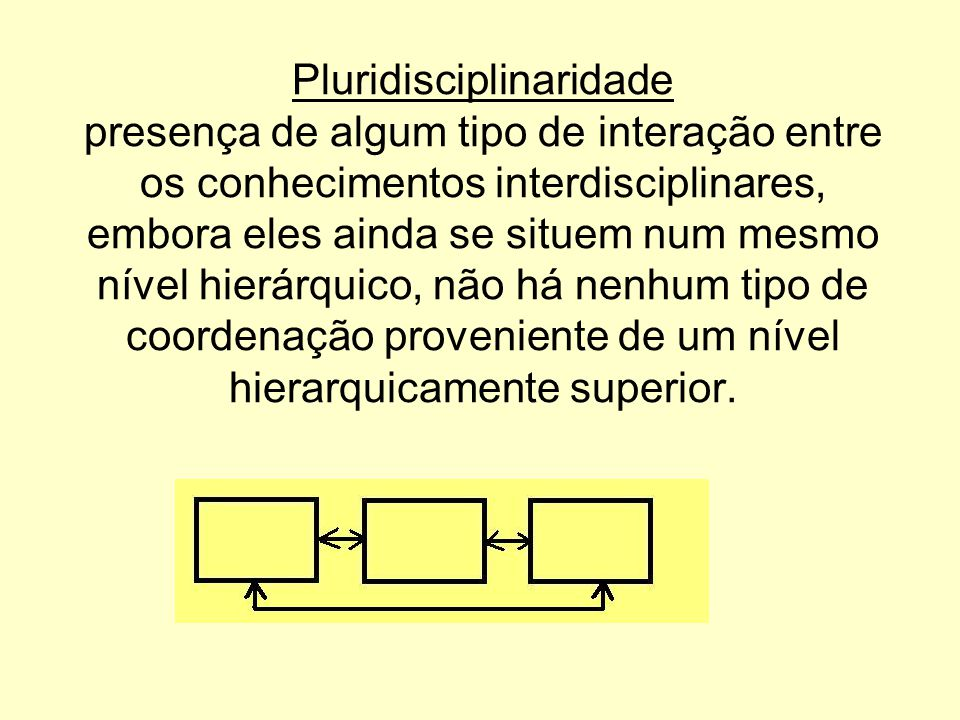 Pluridisciplinaridade presença de algum tipo de interação entre os conhecimentos interdisciplinares, embora eles ainda se situem num mesmo nível hierá