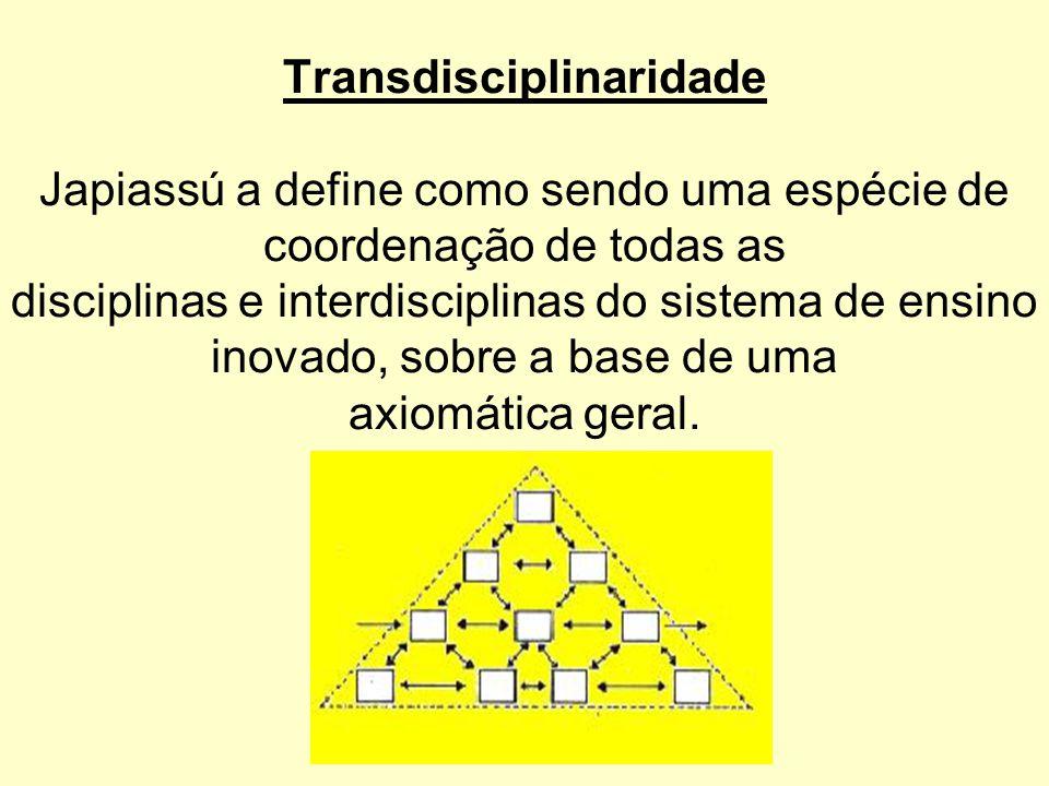 Transdisciplinaridade Japiassú a define como sendo uma espécie de coordenação de todas as disciplinas e interdisciplinas do sistema de ensino inovado,