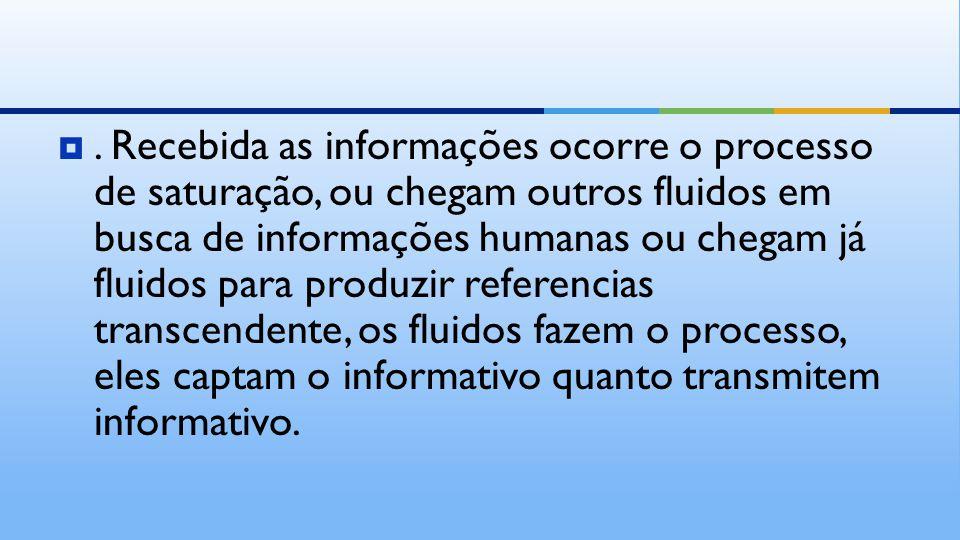 . Recebida as informações ocorre o processo de saturação, ou chegam outros fluidos em busca de informações humanas ou chegam já fluidos para produzir
