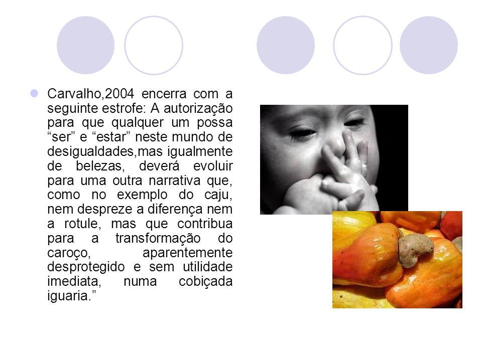 """Carvalho,2004 encerra com a seguinte estrofe: A autorização para que qualquer um possa """"ser"""" e """"estar"""" neste mundo de desigualdades,mas igualmente de"""
