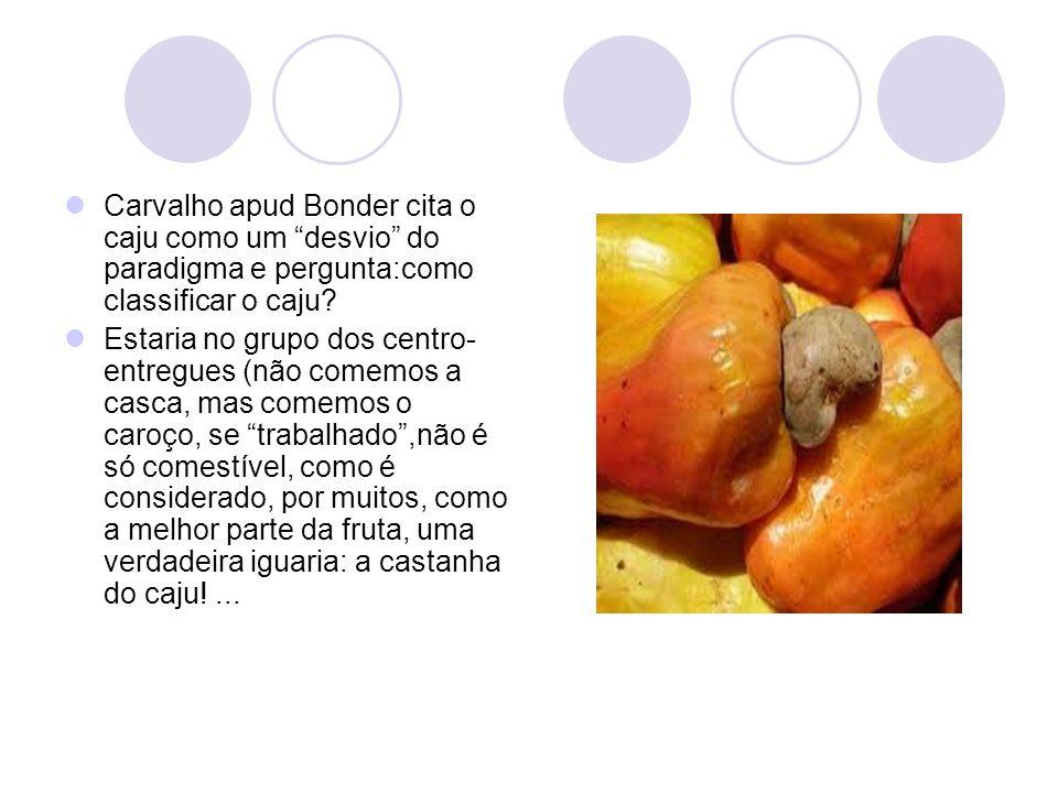 """Carvalho apud Bonder cita o caju como um """"desvio"""" do paradigma e pergunta:como classificar o caju? Estaria no grupo dos centro- entregues (não comemos"""