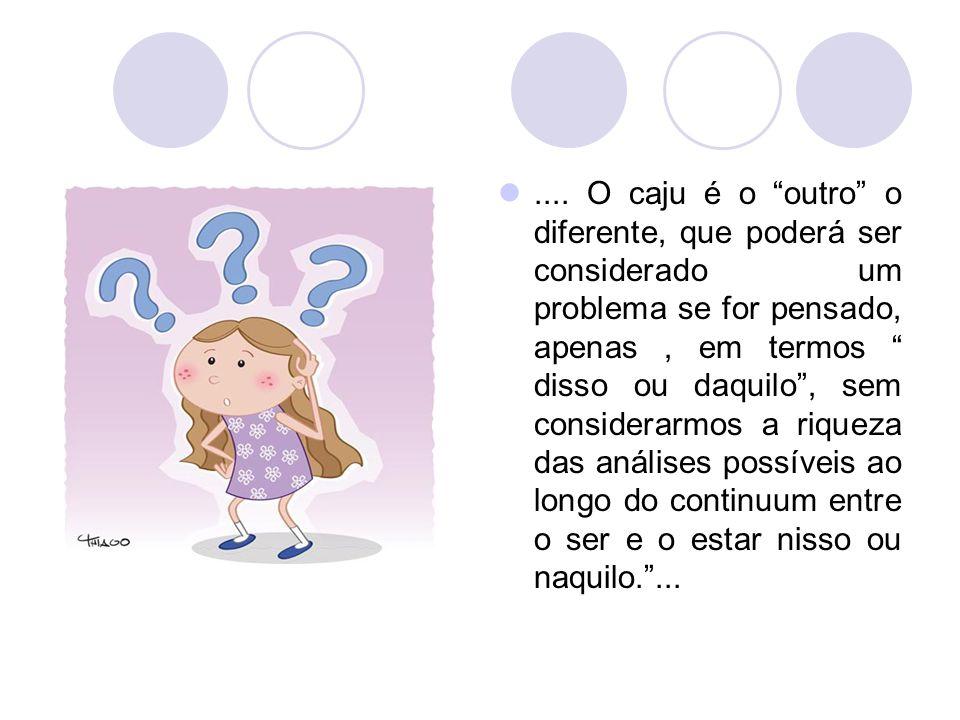 """.... O caju é o """"outro"""" o diferente, que poderá ser considerado um problema se for pensado, apenas, em termos """" disso ou daquilo"""", sem considerarmos a"""