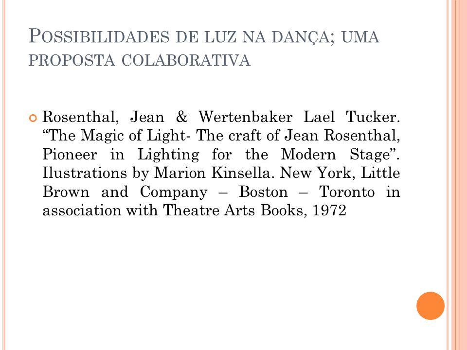 P OSSIBILIDADES DE LUZ NA DANÇA ; UMA PROPOSTA COLABORATIVA Rosenthal, Jean & Wertenbaker Lael Tucker.