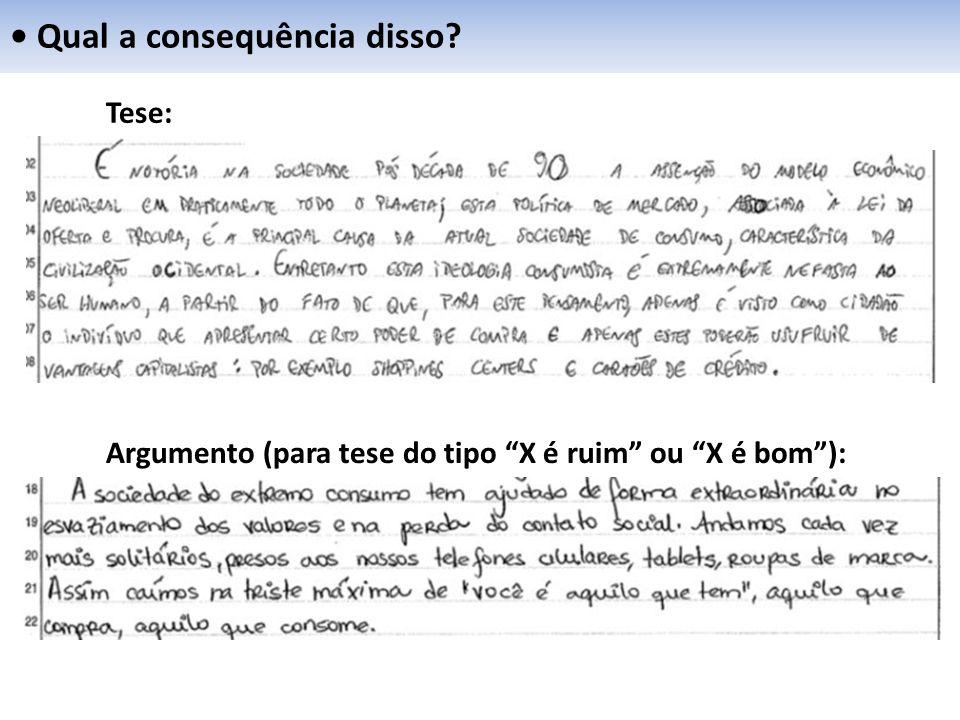 """Qual a consequência disso? Tese: Argumento (para tese do tipo """"X é ruim"""" ou """"X é bom""""):"""