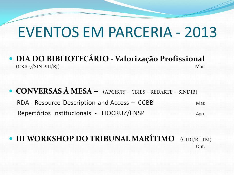 EVENTOS EM PARCERIA - 2013 DIA DO BIBLIOTECÁRIO - Valorização Profissional (CRB-7/SINDIB/RJ) Mar. CONVERSAS À MESA – (APCIS/RJ – CBIES – REDARTE – SIN