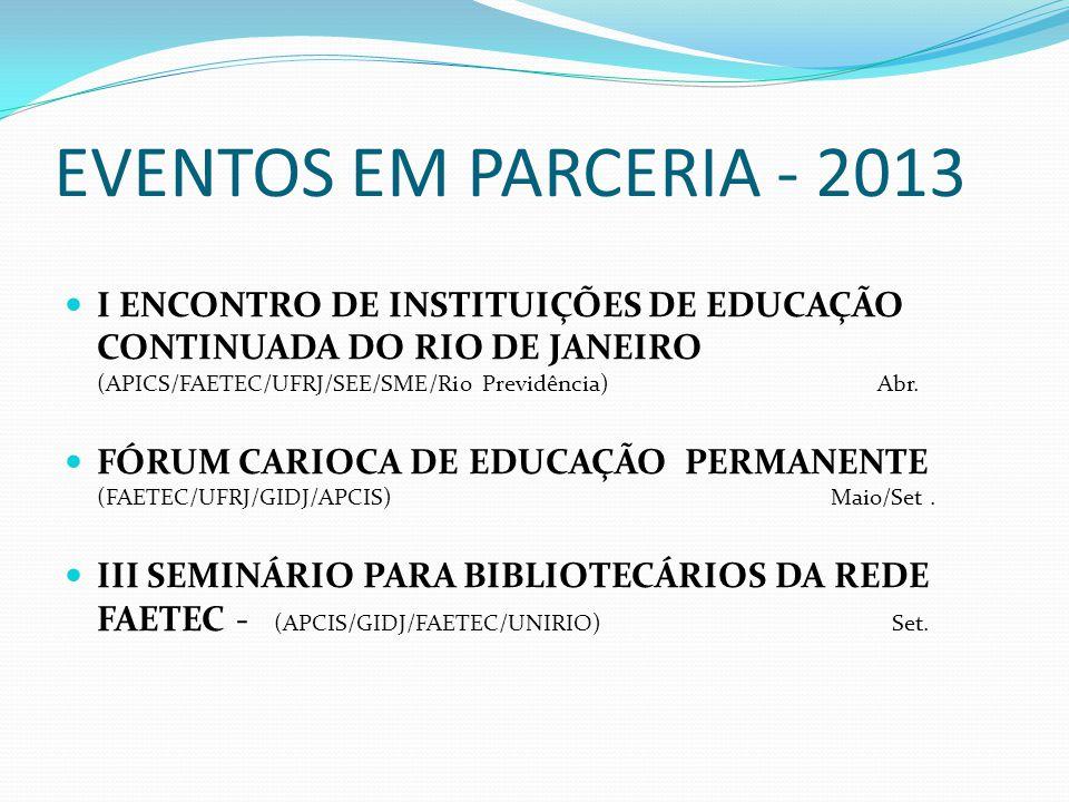 EVENTOS EM PARCERIA - 2013 I ENCONTRO DE INSTITUIÇÕES DE EDUCAÇÃO CONTINUADA DO RIO DE JANEIRO (APICS/FAETEC/UFRJ/SEE/SME/Rio Previdência) Abr. FÓRUM