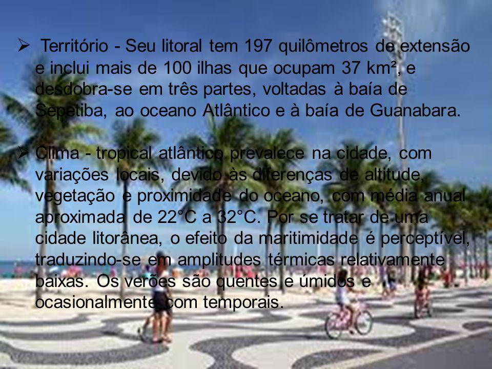  Território - Seu litoral tem 197 quilômetros de extensão e inclui mais de 100 ilhas que ocupam 37 km², e desdobra-se em três partes, voltadas à baía