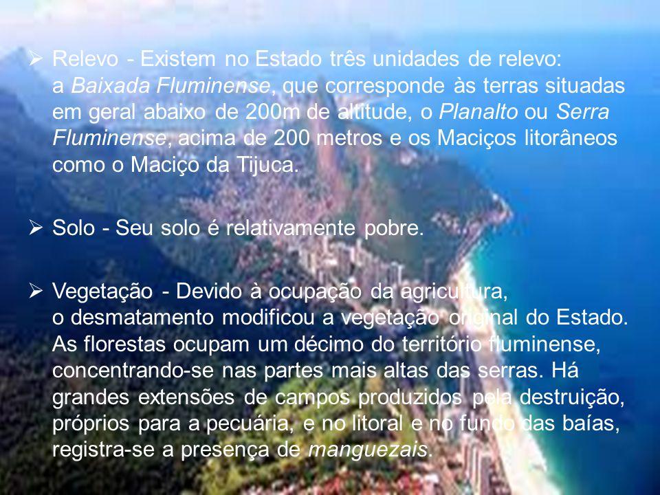  Relevo - Existem no Estado três unidades de relevo: a Baixada Fluminense, que corresponde às terras situadas em geral abaixo de 200m de altitude, o