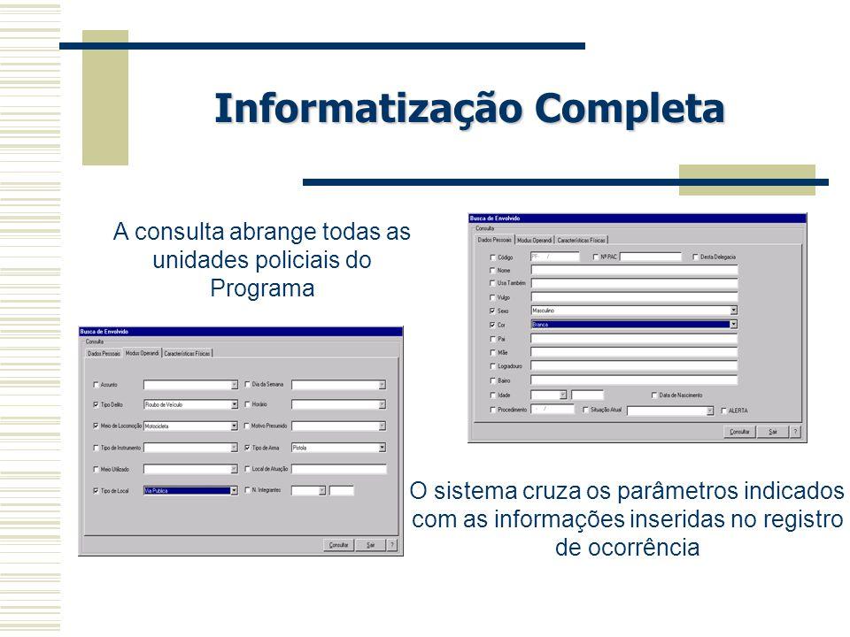 Informatização Completa A consulta abrange todas as unidades policiais do Programa O sistema cruza os parâmetros indicados com as informações inserida