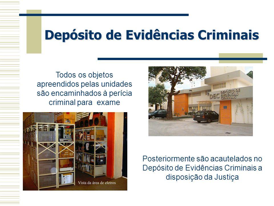 Depósito de Evidências Criminais Todos os objetos apreendidos pelas unidades são encaminhados à perícia criminal para exame Posteriormente são acautel