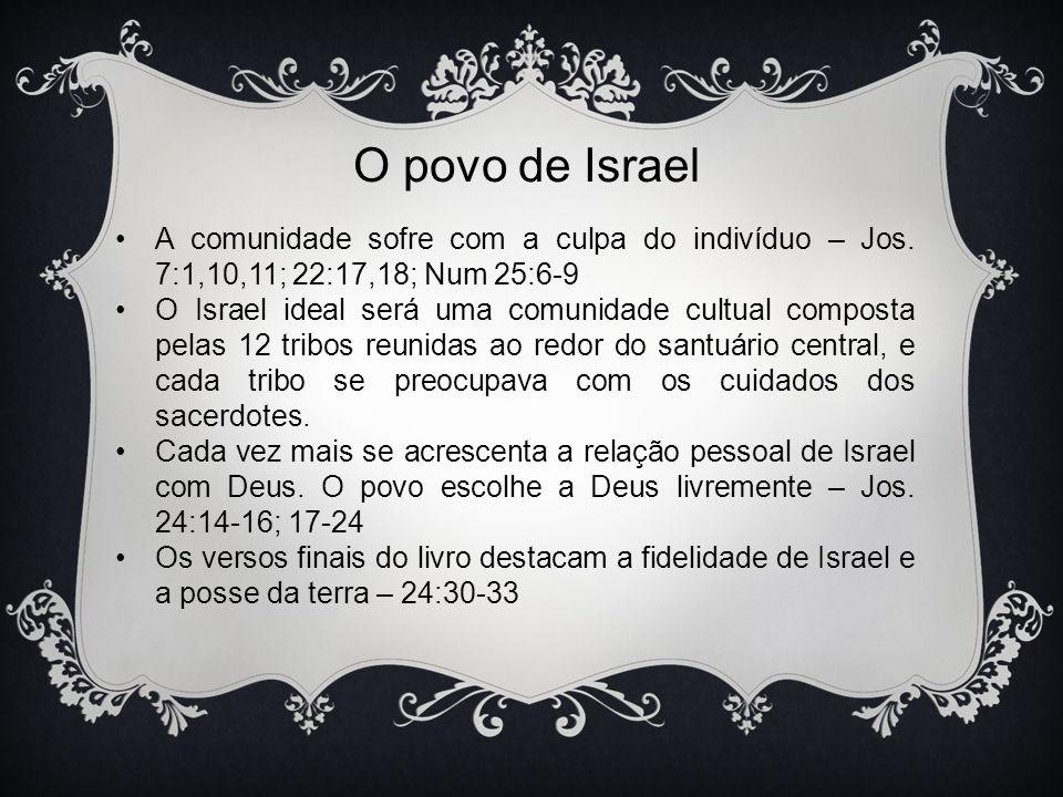 O povo de Israel A comunidade sofre com a culpa do indivíduo – Jos. 7:1,10,11; 22:17,18; Num 25:6-9 O Israel ideal será uma comunidade cultual compost