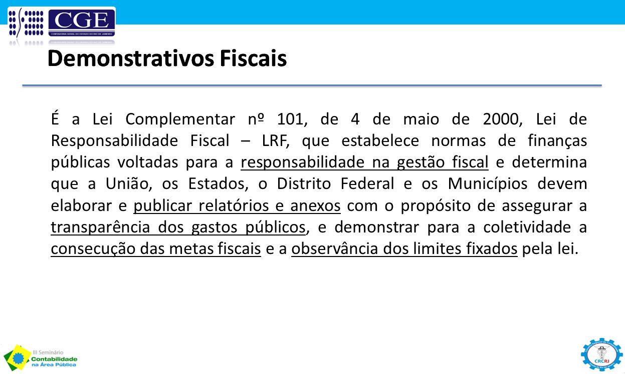 Demonstrativos Fiscais É a Lei Complementar nº 101, de 4 de maio de 2000, Lei de Responsabilidade Fiscal – LRF, que estabelece normas de finanças públ