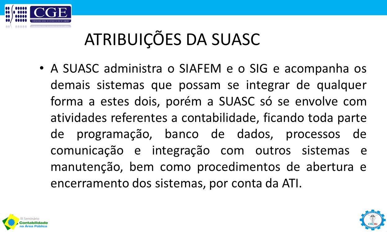 ATRIBUIÇÕES DA SUASC A SUASC administra o SIAFEM e o SIG e acompanha os demais sistemas que possam se integrar de qualquer forma a estes dois, porém a