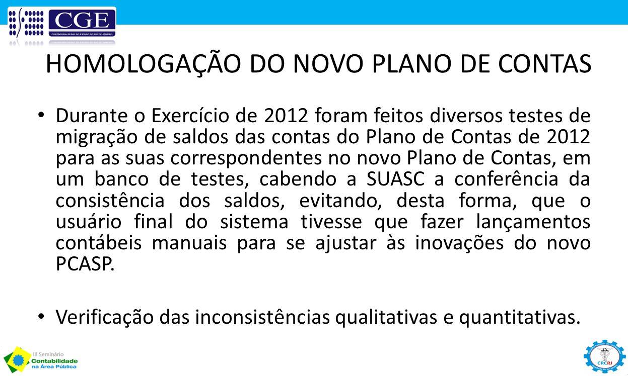 HOMOLOGAÇÃO DO NOVO PLANO DE CONTAS Durante o Exercício de 2012 foram feitos diversos testes de migração de saldos das contas do Plano de Contas de 20