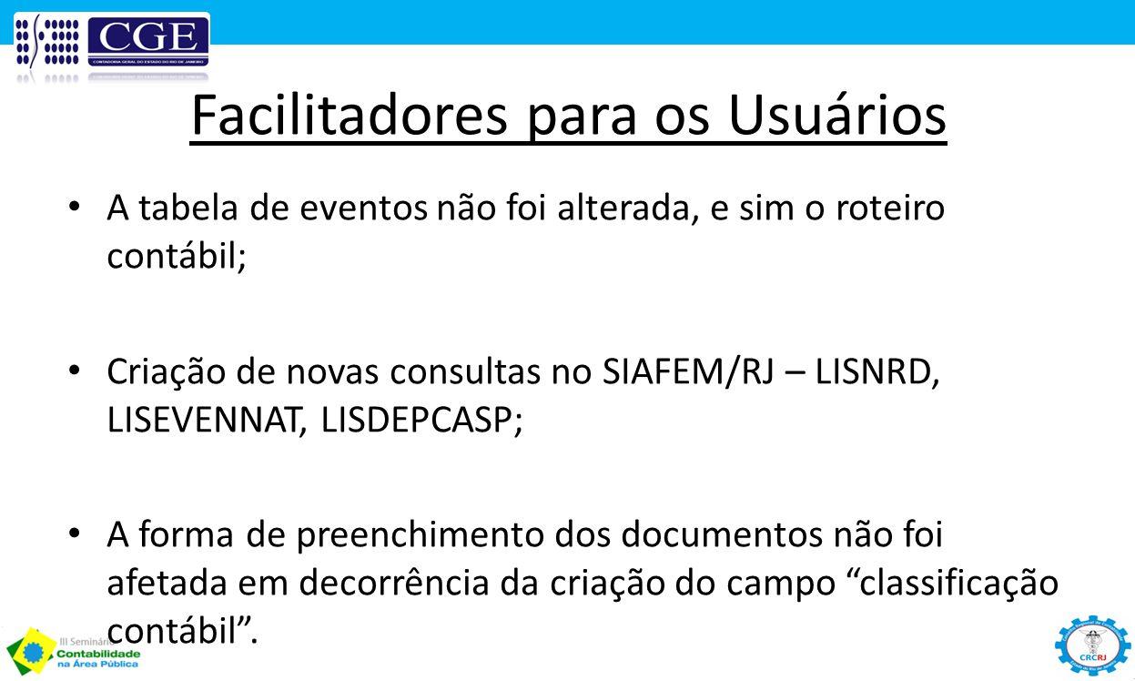 Facilitadores para os Usuários A tabela de eventos não foi alterada, e sim o roteiro contábil; Criação de novas consultas no SIAFEM/RJ – LISNRD, LISEV