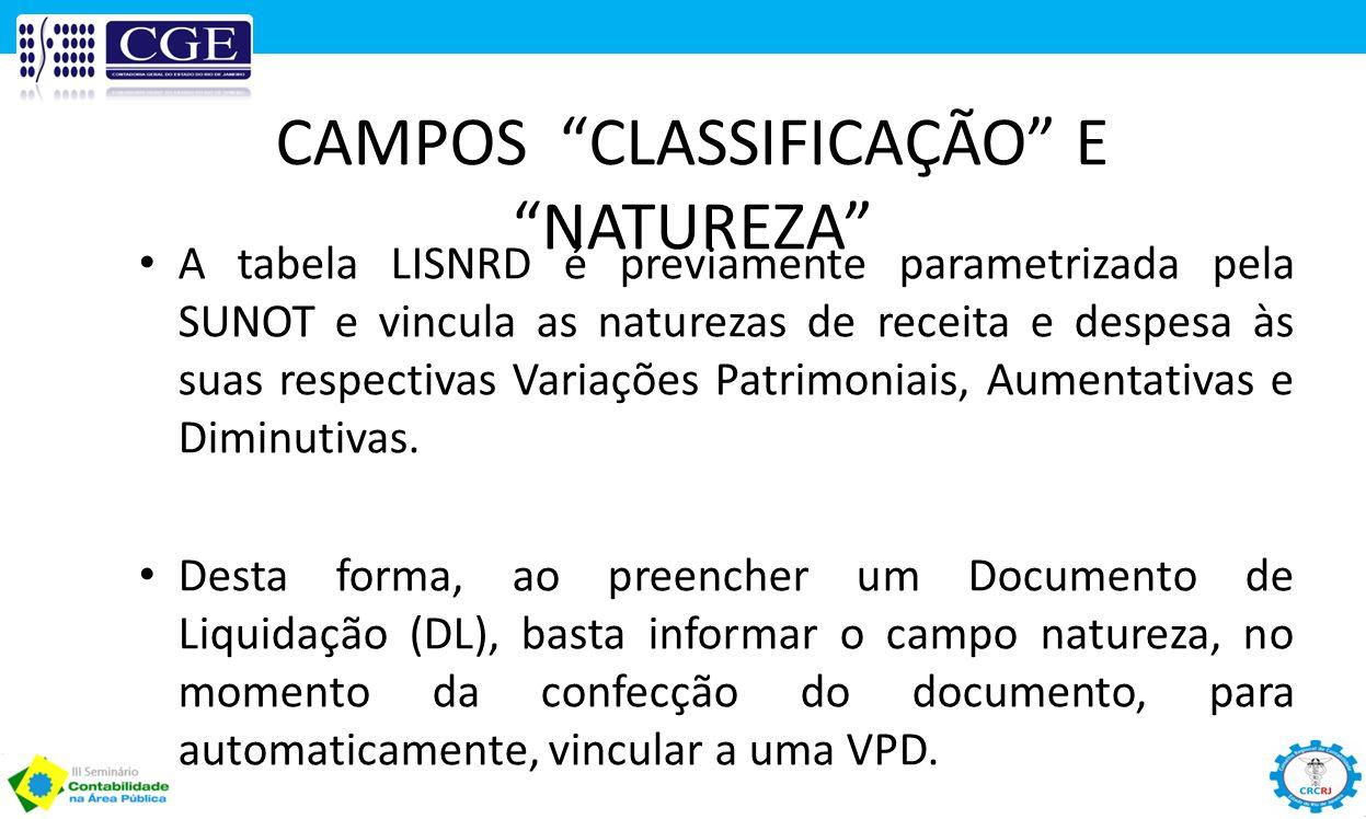 """CAMPOS """"CLASSIFICAÇÃO"""" E """"NATUREZA"""" A tabela LISNRD é previamente parametrizada pela SUNOT e vincula as naturezas de receita e despesa às suas respect"""