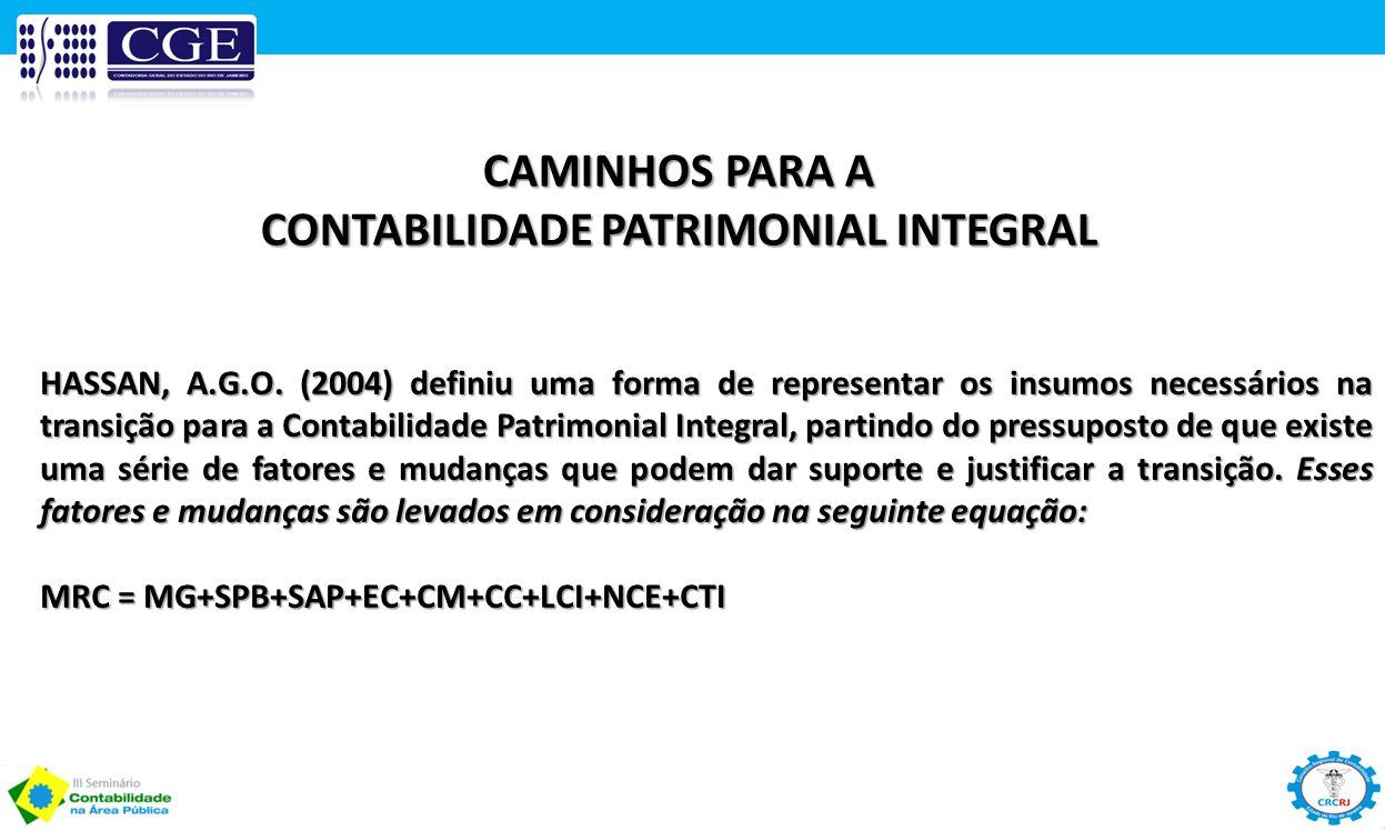 HASSAN, A.G.O. (2004) definiu uma forma de representar os insumos necessários na transição para a Contabilidade Patrimonial Integral, partindo do pres