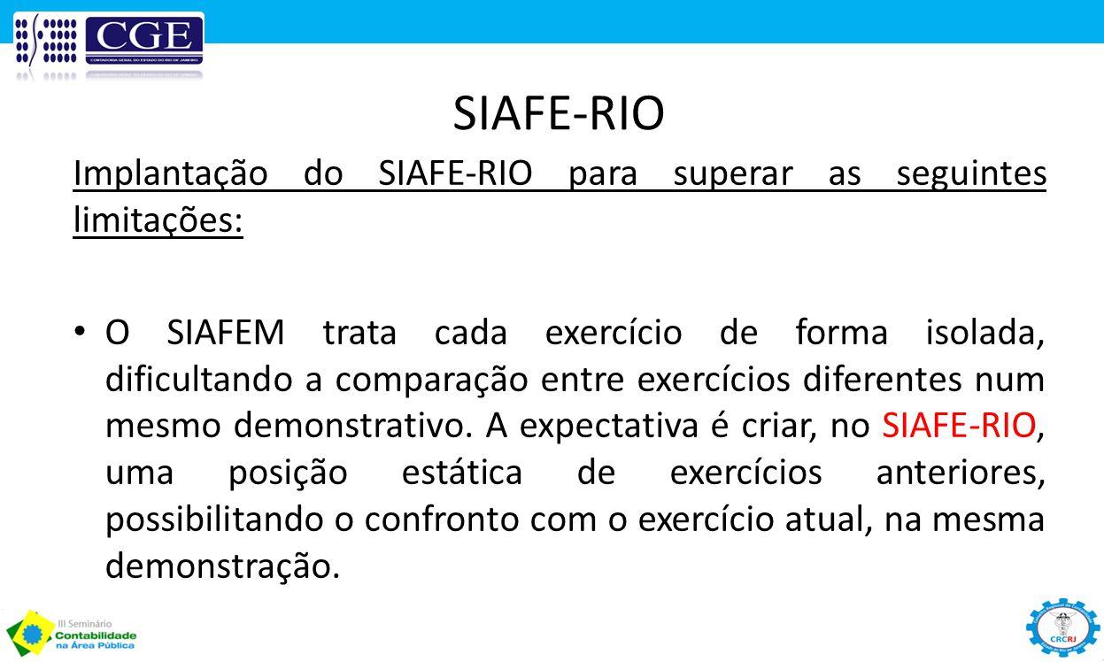 SIAFE-RIO Implantação do SIAFE-RIO para superar as seguintes limitações: O SIAFEM trata cada exercício de forma isolada, dificultando a comparação ent
