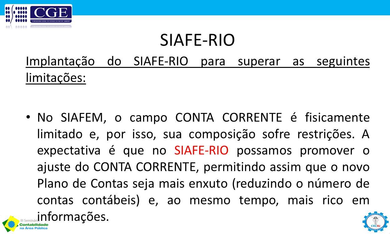 SIAFE-RIO Implantação do SIAFE-RIO para superar as seguintes limitações: No SIAFEM, o campo CONTA CORRENTE é fisicamente limitado e, por isso, sua com