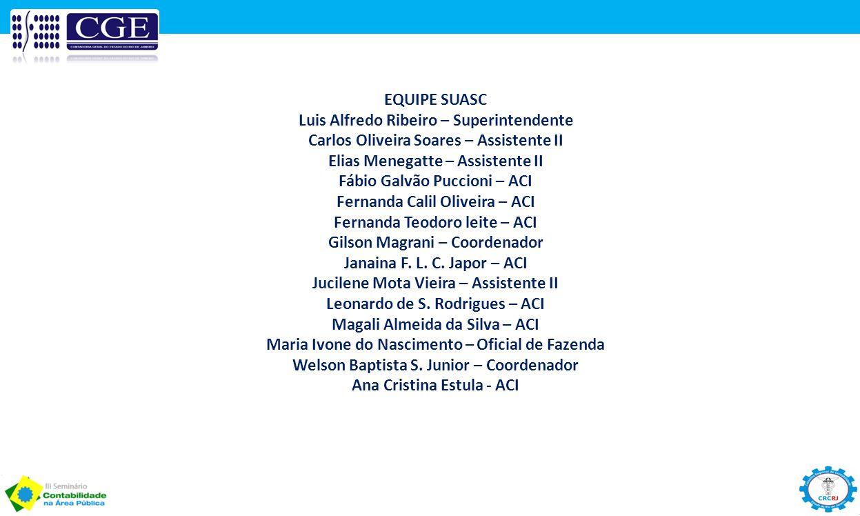 EQUIPE SUASC Luis Alfredo Ribeiro – Superintendente Carlos Oliveira Soares – Assistente II Elias Menegatte – Assistente II Fábio Galvão Puccioni – ACI