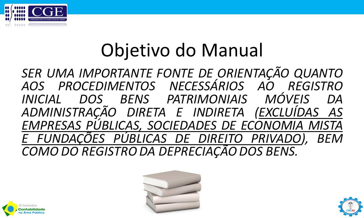 Objetivo do Manual SER UMA IMPORTANTE FONTE DE ORIENTAÇÃO QUANTO AOS PROCEDIMENTOS NECESSÁRIOS AO REGISTRO INICIAL DOS BENS PATRIMONIAIS MÓVEIS DA ADM