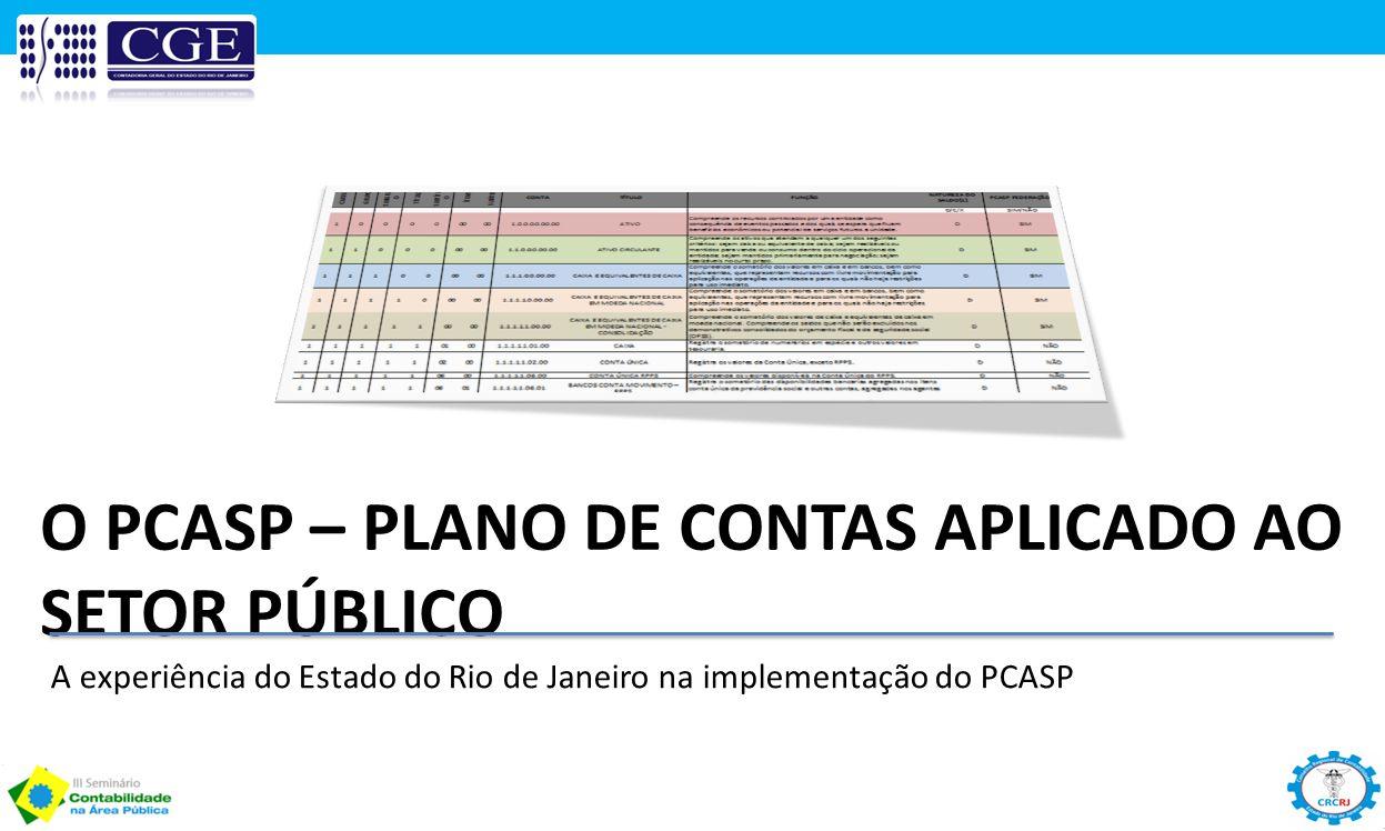 O PCASP – PLANO DE CONTAS APLICADO AO SETOR PÚBLICO A experiência do Estado do Rio de Janeiro na implementação do PCASP