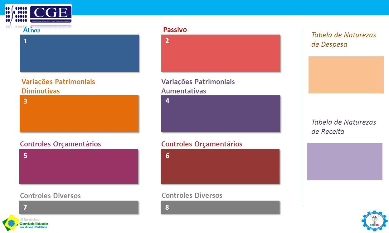 Ativo Passivo 1 2 Tabela de Naturezas de Despesa Tabela de Naturezas de Receita 3 4 Controles Orçamentários 56 Variações Patrimoniais Diminutivas Vari