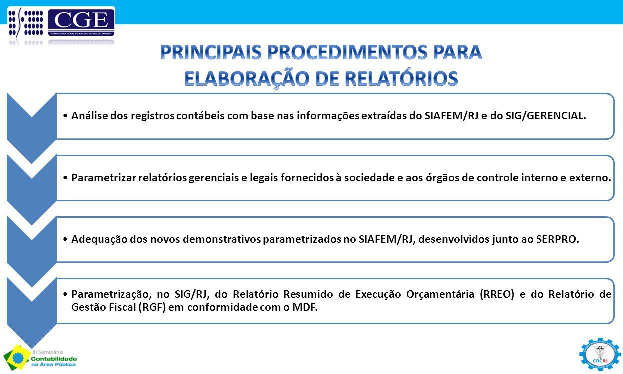 Análise dos registros contábeis com base nas informações extraídas do SIAFEM/RJ e do SIG/GERENCIAL.Parametrizar relatórios gerenciais e legais forneci