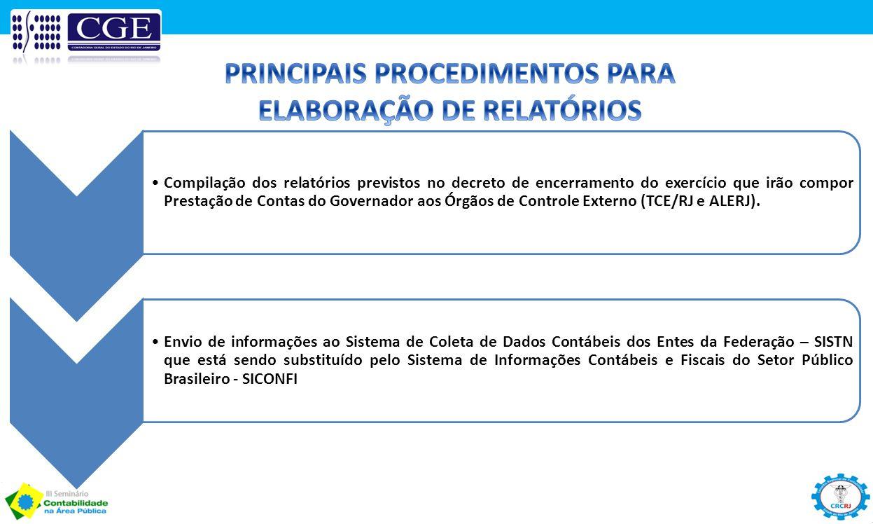 Compilação dos relatórios previstos no decreto de encerramento do exercício que irão compor Prestação de Contas do Governador aos Órgãos de Controle E