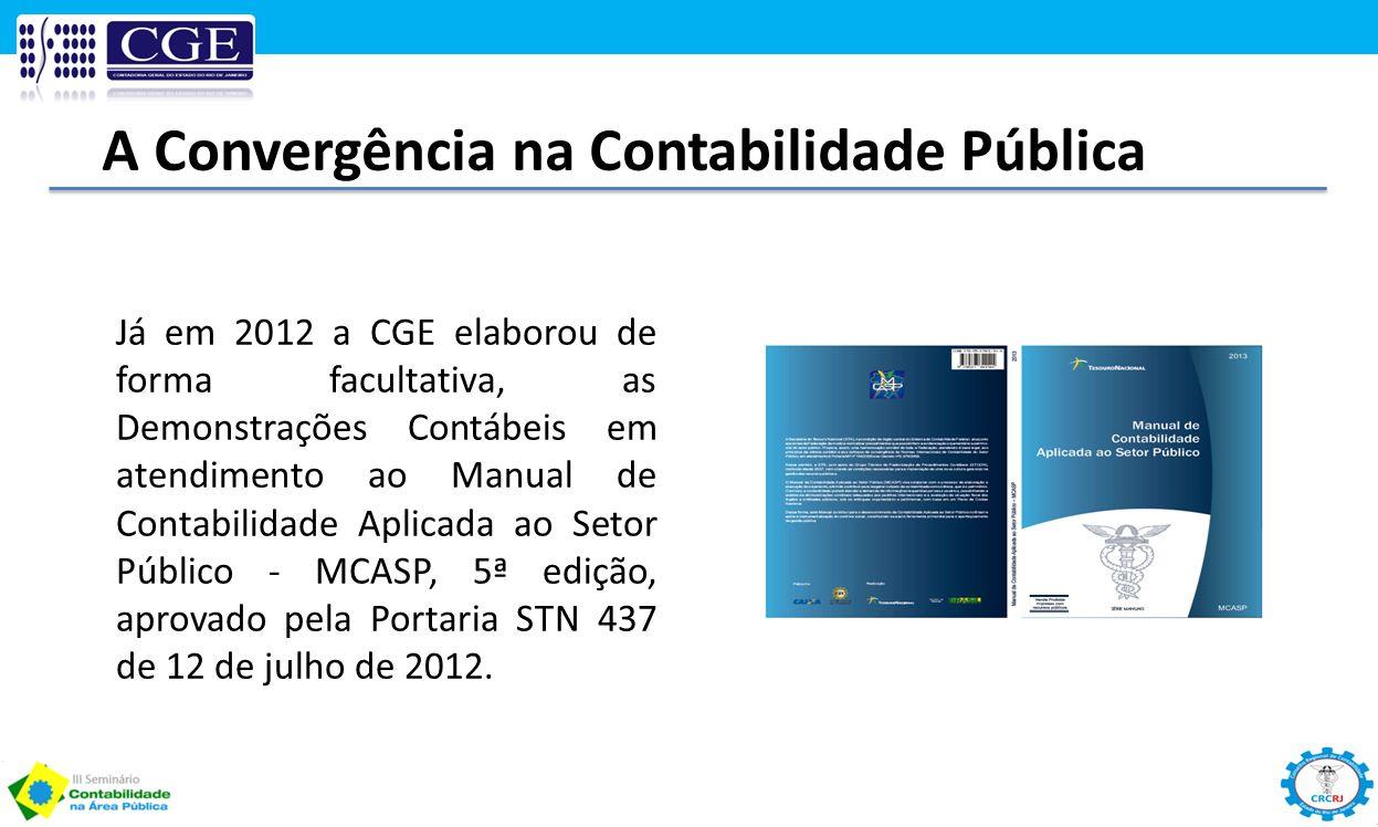 Já em 2012 a CGE elaborou de forma facultativa, as Demonstrações Contábeis em atendimento ao Manual de Contabilidade Aplicada ao Setor Público - MCASP