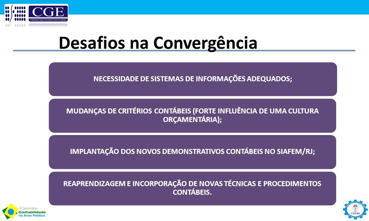 NECESSIDADE DE SISTEMAS DE INFORMAÇÕES ADEQUADOS; MUDANÇAS DE CRITÉRIOS CONTÁBEIS (FORTE INFLUÊNCIA DE UMA CULTURA ORÇAMENTÁRIA); IMPLANTAÇÃO DOS NOVO