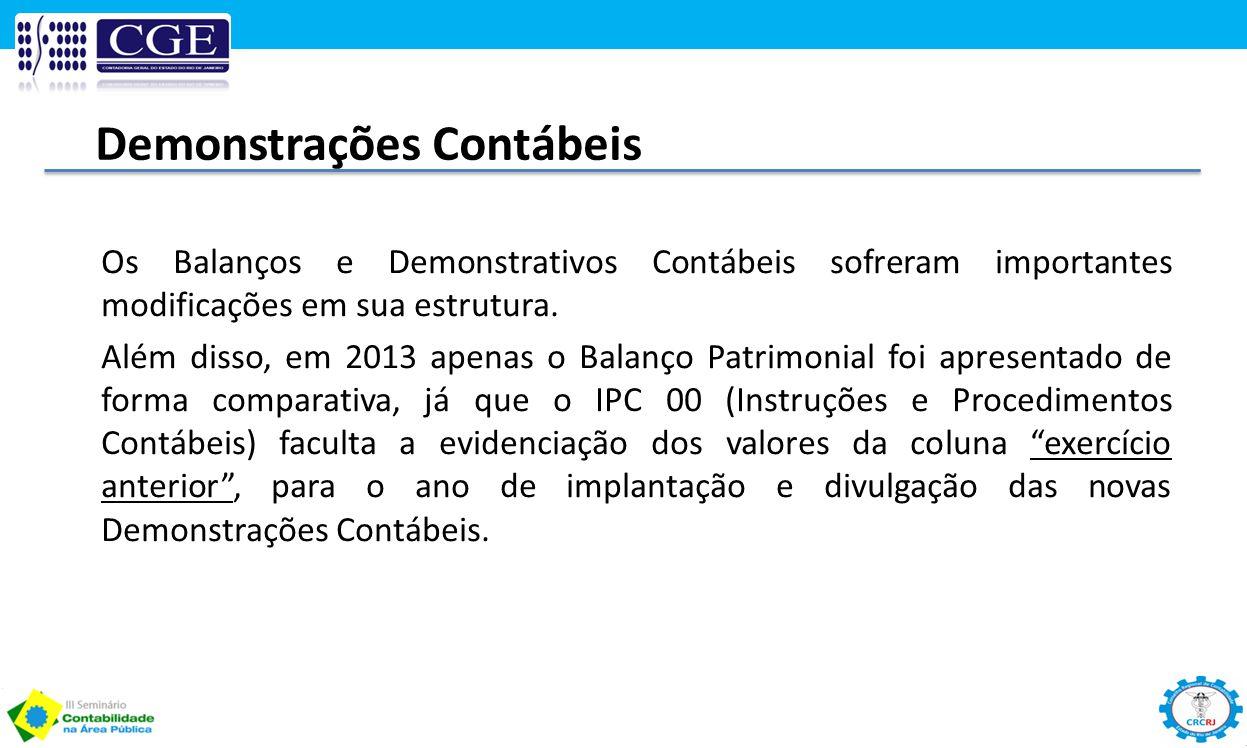 Demonstrações Contábeis Os Balanços e Demonstrativos Contábeis sofreram importantes modificações em sua estrutura. Além disso, em 2013 apenas o Balanç
