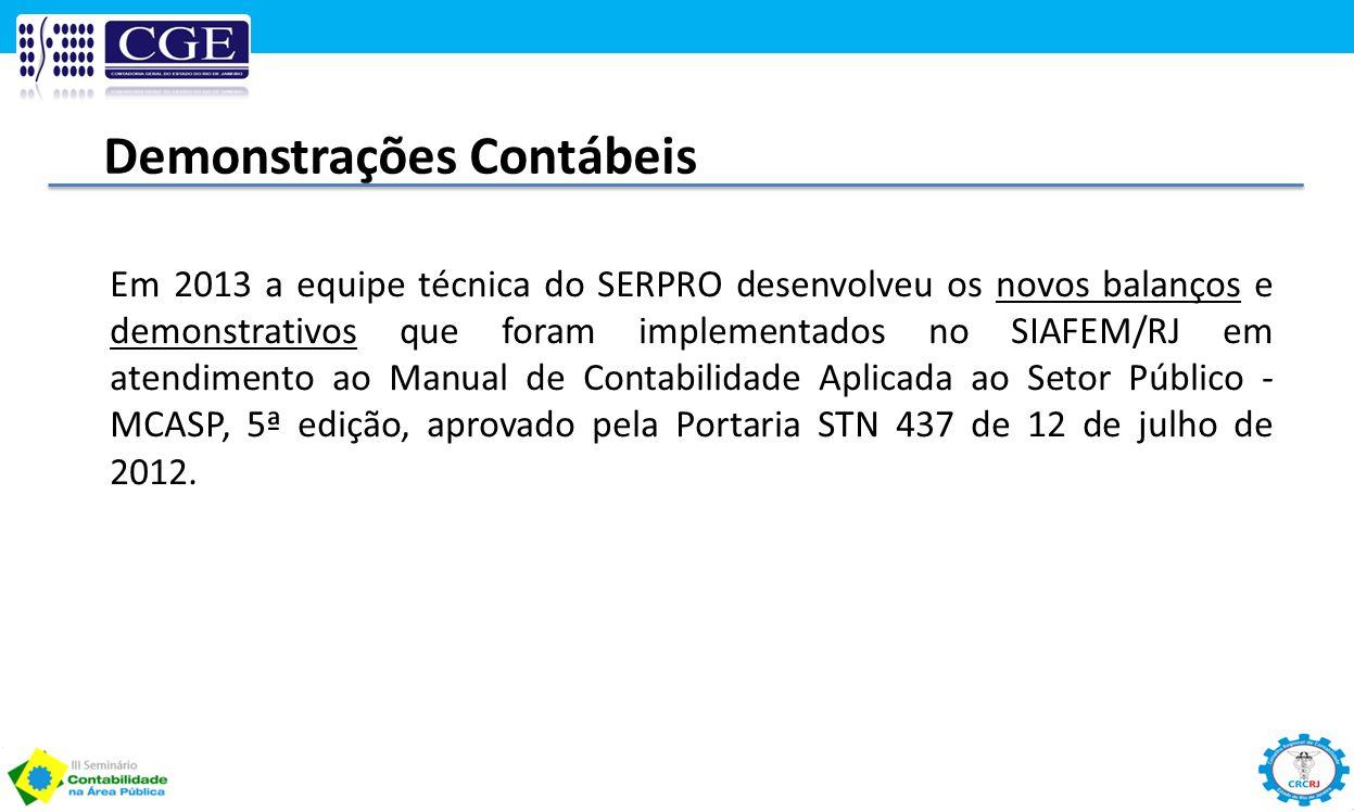 Demonstrações Contábeis Em 2013 a equipe técnica do SERPRO desenvolveu os novos balanços e demonstrativos que foram implementados no SIAFEM/RJ em aten