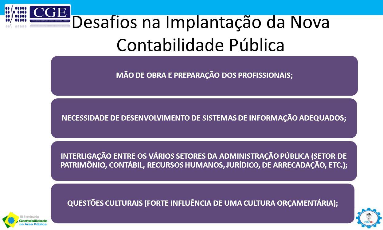 Desafios na Implantação da Nova Contabilidade Pública MÃO DE OBRA E PREPARAÇÃO DOS PROFISSIONAIS;NECESSIDADE DE DESENVOLVIMENTO DE SISTEMAS DE INFORMA