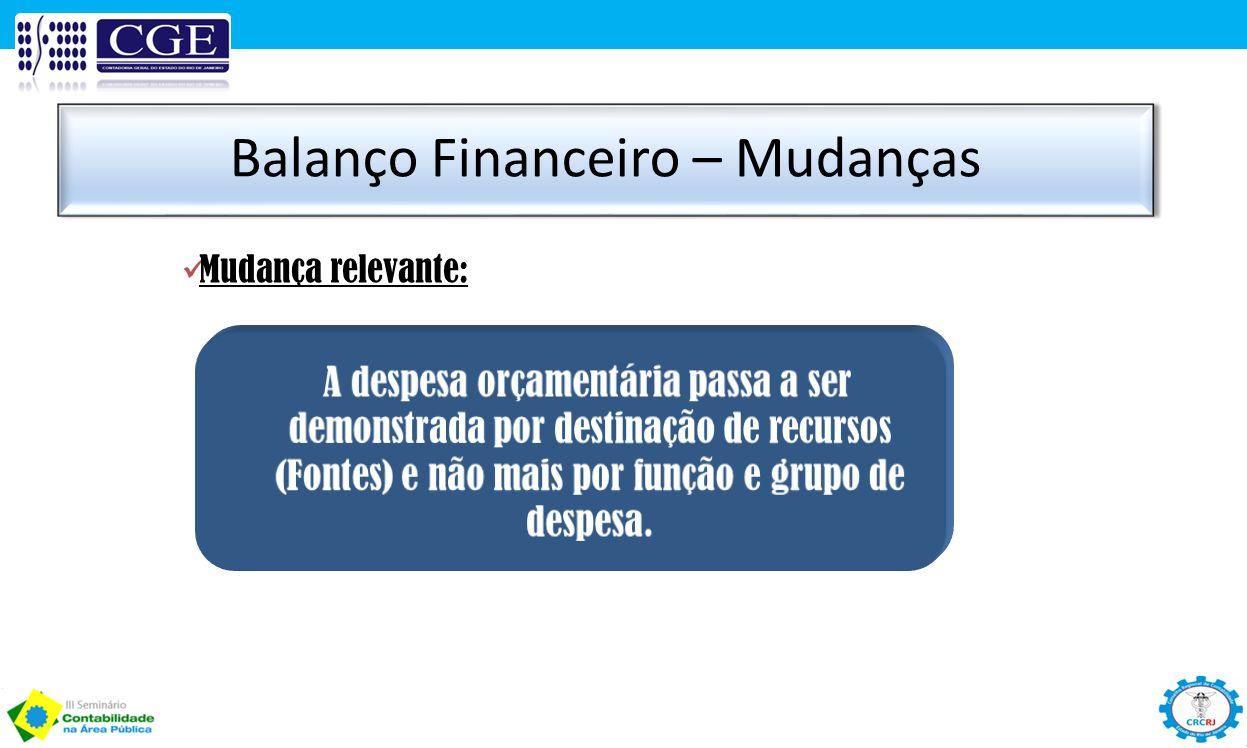Balanço Financeiro – Mudanças Mudança relevante: