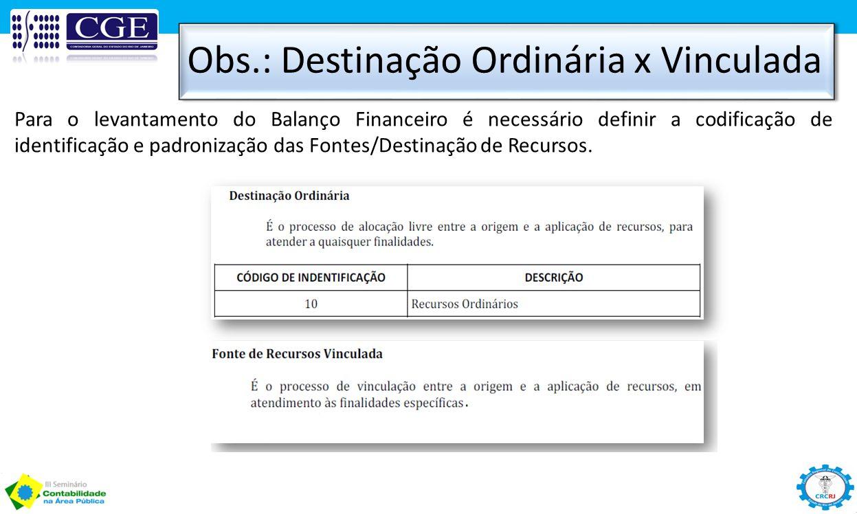 Obs.: Destinação Ordinária x Vinculada Para o levantamento do Balanço Financeiro é necessário definir a codificação de identificação e padronização da