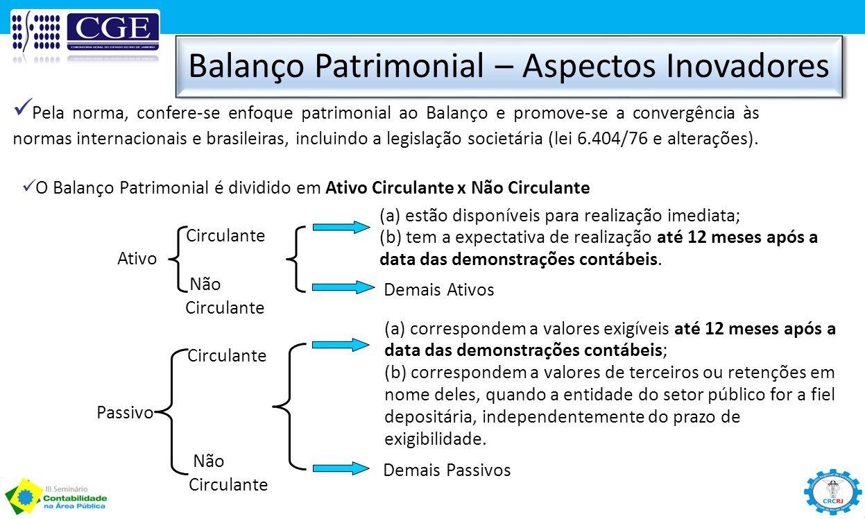 Balanço Patrimonial – Aspectos Inovadores O Balanço Patrimonial é dividido em Ativo Circulante x Não Circulante Circulante (a) estão disponíveis para