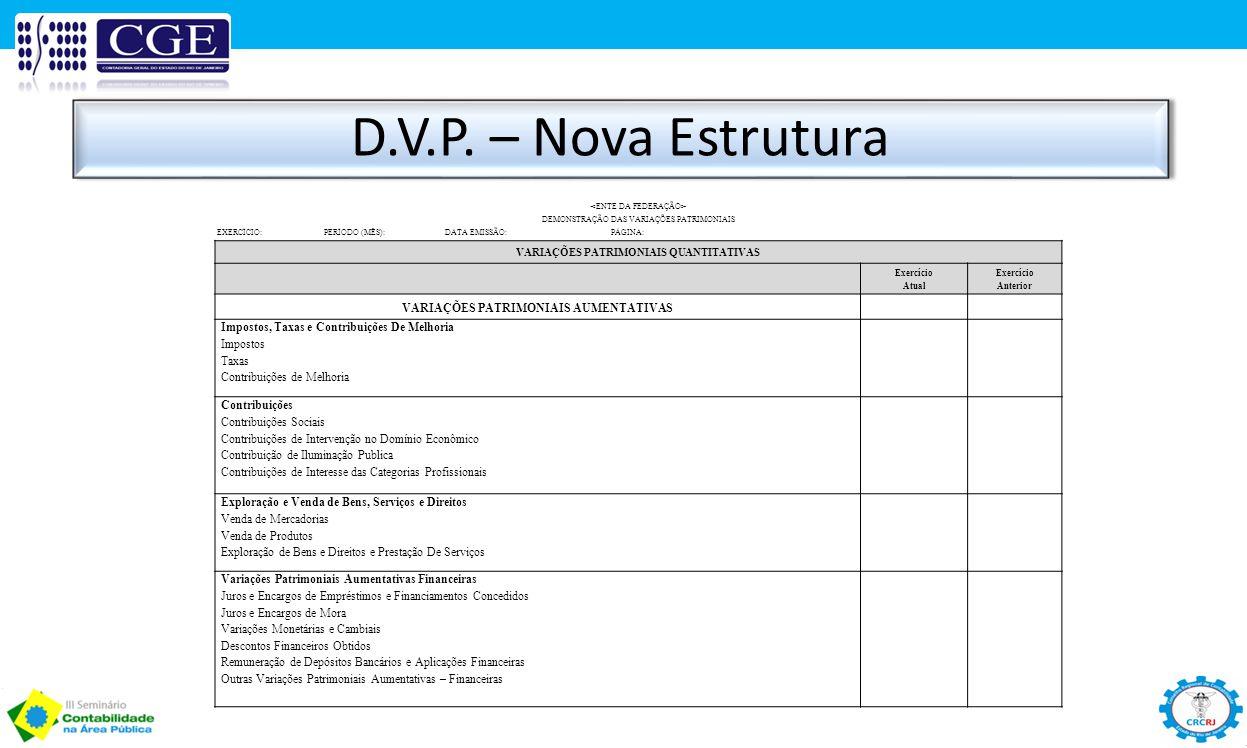 D.V.P. – Nova Estrutura DEMONSTRAÇÃO DAS VARIAÇÕES PATRIMONIAIS EXERCÍCIO: PERÍODO (MÊS): DATA EMISSÃO: PÁGINA: VARIAÇÕES PATRIMONIAIS QUANTITATIVAS E