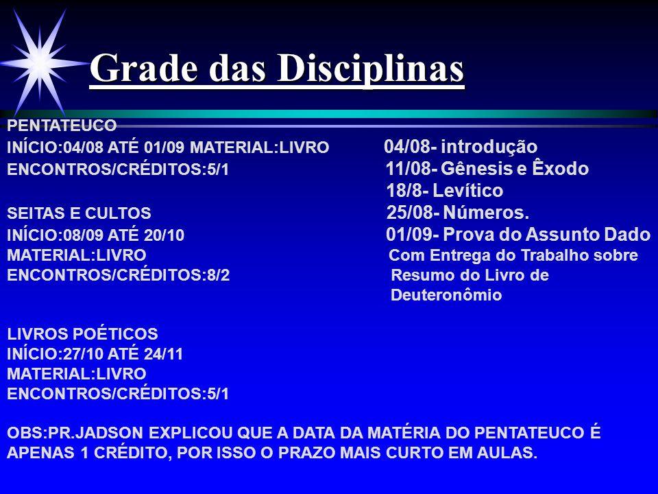 Grade das Disciplinas PENTATEUCO INÍCIO:04/08 ATÉ 01/09 MATERIAL:LIVRO 04/08- introdução ENCONTROS/CRÉDITOS:5/1 11/08- Gênesis e Êxodo 18/8- Levítico