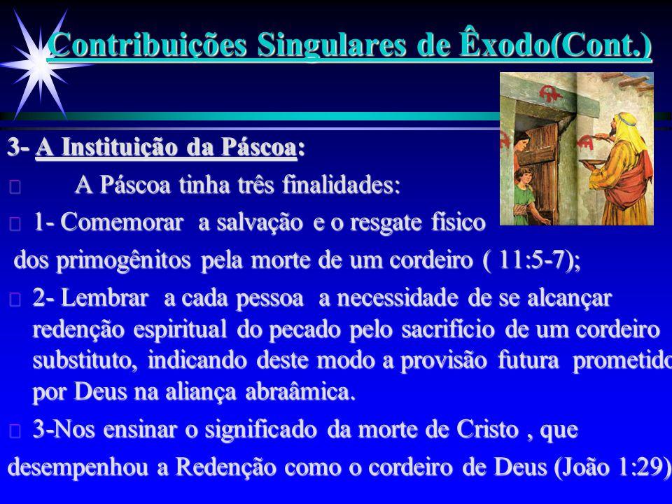 Contribuições Singulares de Êxodo(Cont.) 3- A Instituição da Páscoa: ä A Páscoa tinha três finalidades: ä 1- Comemorar a salvação e o resgate físico d