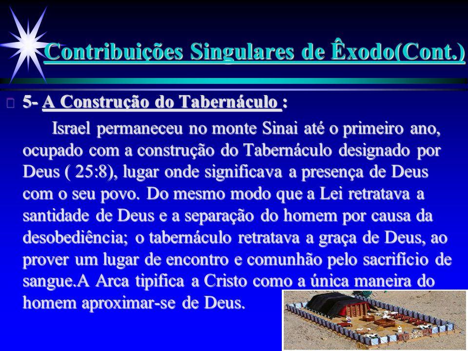 Contribuições Singulares de Êxodo(Cont.) ä 5- A Construção do Tabernáculo : Israel permaneceu no monte Sinai até o primeiro ano, ocupado com a constru