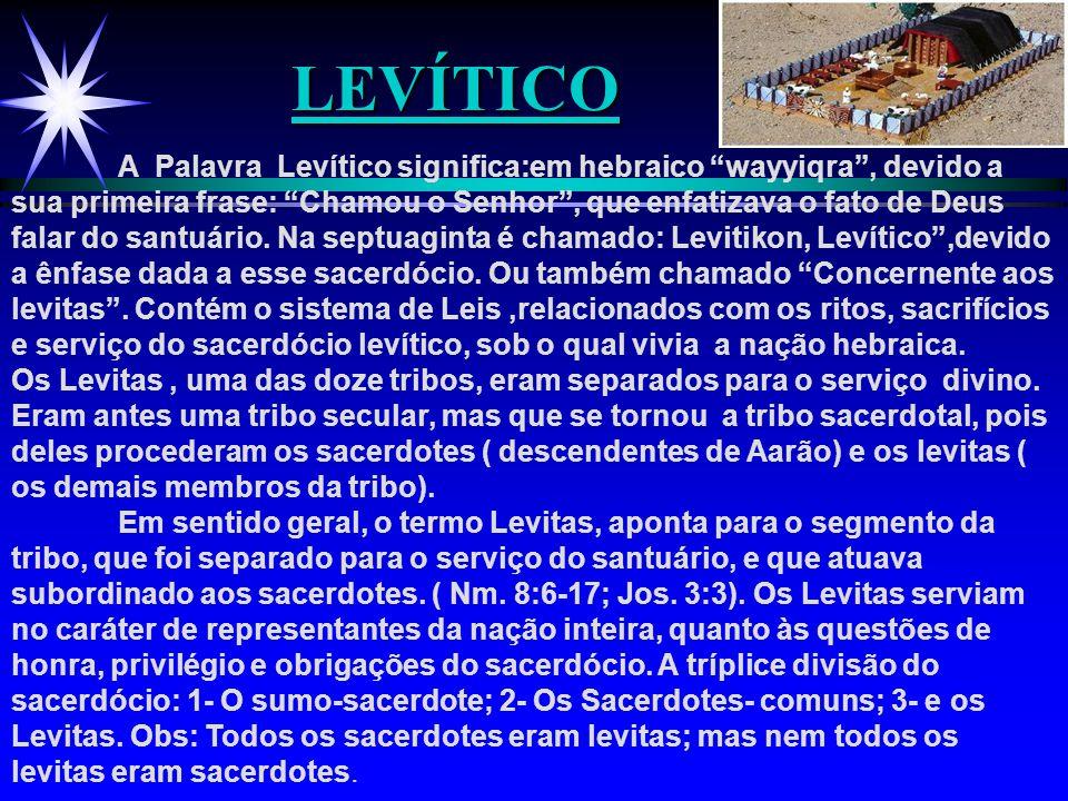"""LEVÍTICO LEVÍTICO A Palavra Levítico significa:em hebraico """"wayyiqra"""", devido a sua primeira frase: """"Chamou o Senhor"""", que enfatizava o fato de Deus f"""