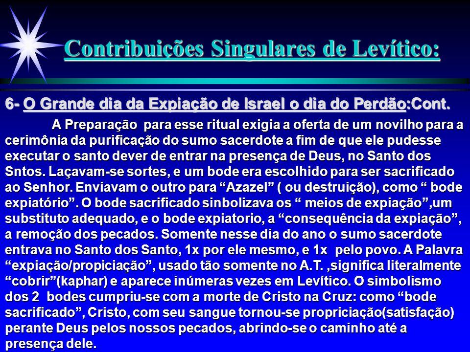 Contribuições Singulares de Levítico: A Preparação para esse ritual exigia a oferta de um novilho para a cerimônia da purificação do sumo sacerdote a