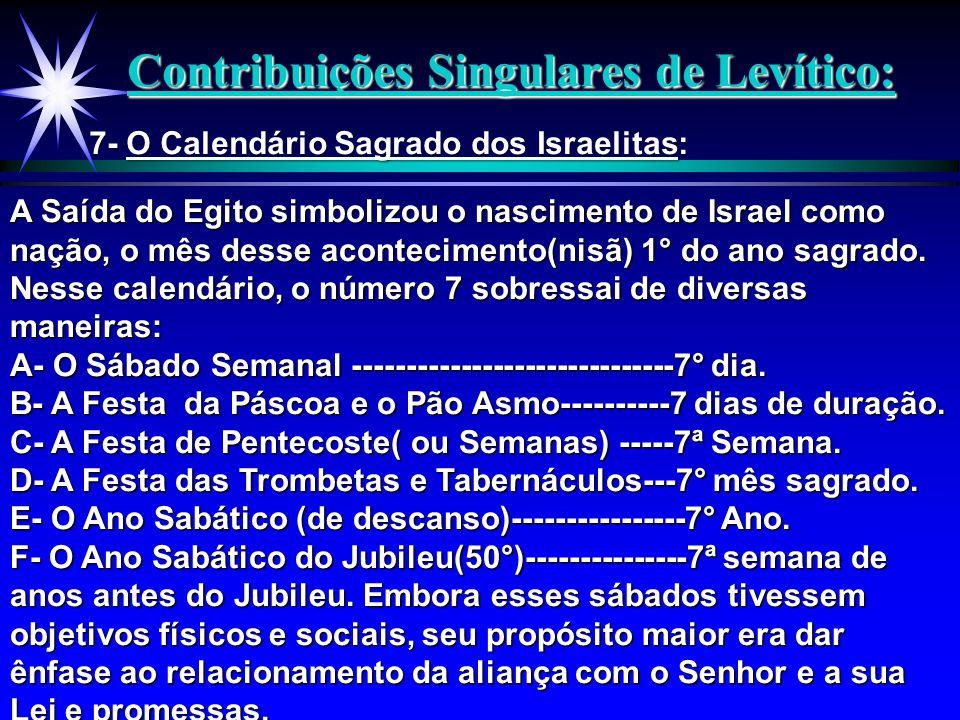 Contribuições Singulares de Levítico: 7- O Calendário Sagrado dos Israelitas: A Saída do Egito simbolizou o nascimento de Israel como nação, o mês des