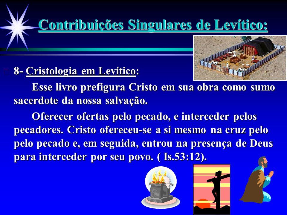 Contribuições Singulares de Levítico: ä 8- Cristologia em Levítico: Esse livro prefigura Cristo em sua obra como sumo sacerdote da nossa salvação. Ofe