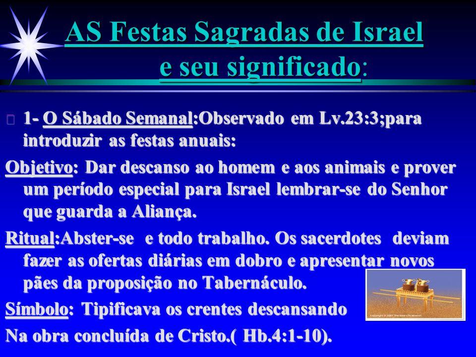 AS Festas Sagradas de Israel e seu significado AS Festas Sagradas de Israel e seu significado: ä 1- O Sábado Semanal:Observado em Lv.23:3;para introdu