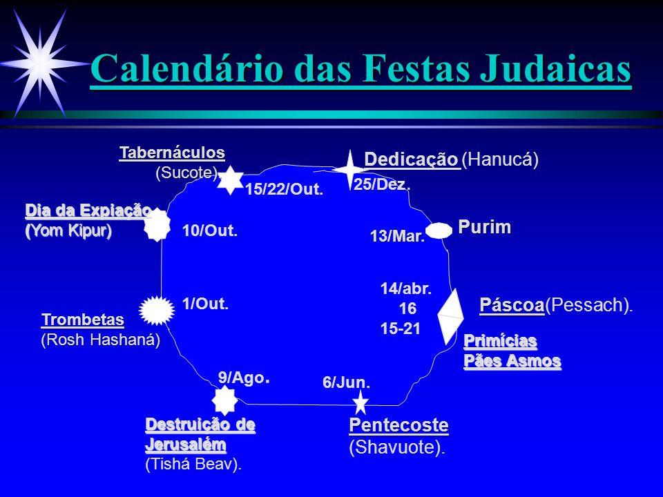 Calendário das Festas Judaicas Páscoa Páscoa(Pessach). Primícias Pães Asmos 14/abr. 16 15-21 Pentecoste (Shavuote). 6/Jun. Destruição de Jerusalém (Ti