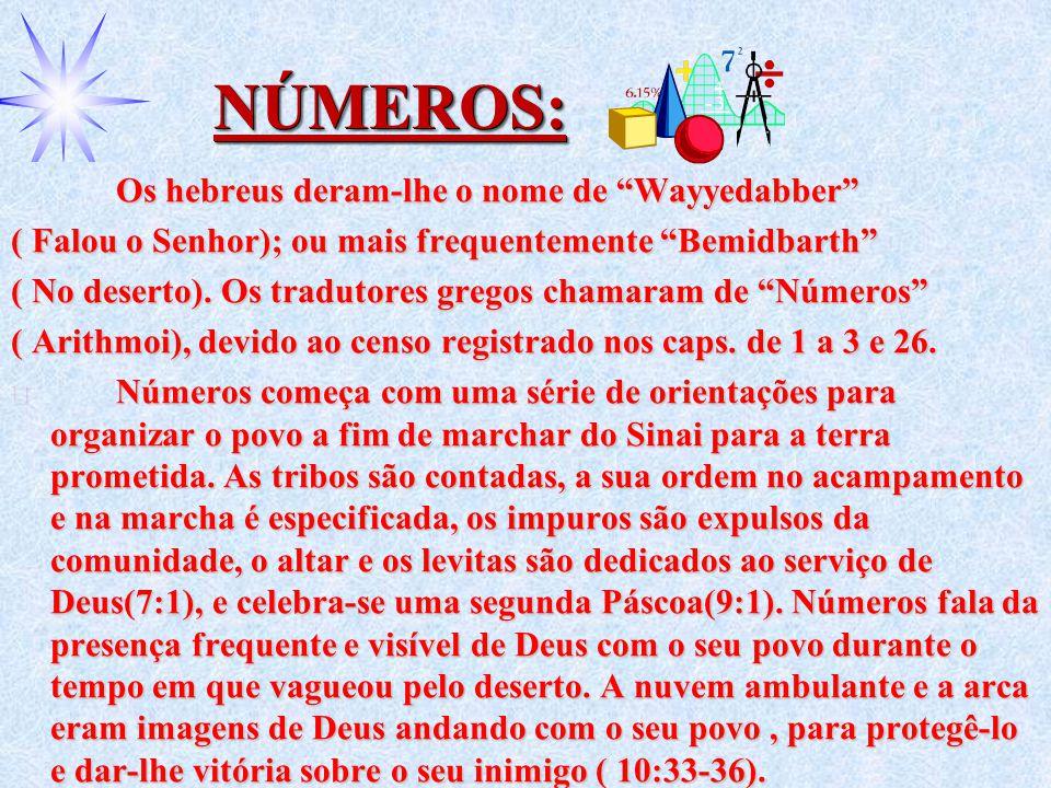 """NÚMEROS:NÚMEROS: Os hebreus deram-lhe o nome de """"Wayyedabber"""" ( Falou o Senhor); ou mais frequentemente """"Bemidbarth"""" ( No deserto). Os tradutores greg"""