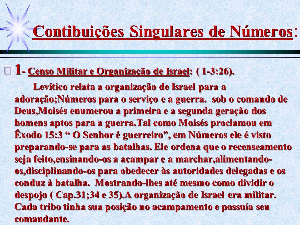 Contibuições Singulares de Números : ä 1 - Censo Militar e Organização de Israel: ( 1-3:26). Levítico relata a organização de Israel para a adoração;N