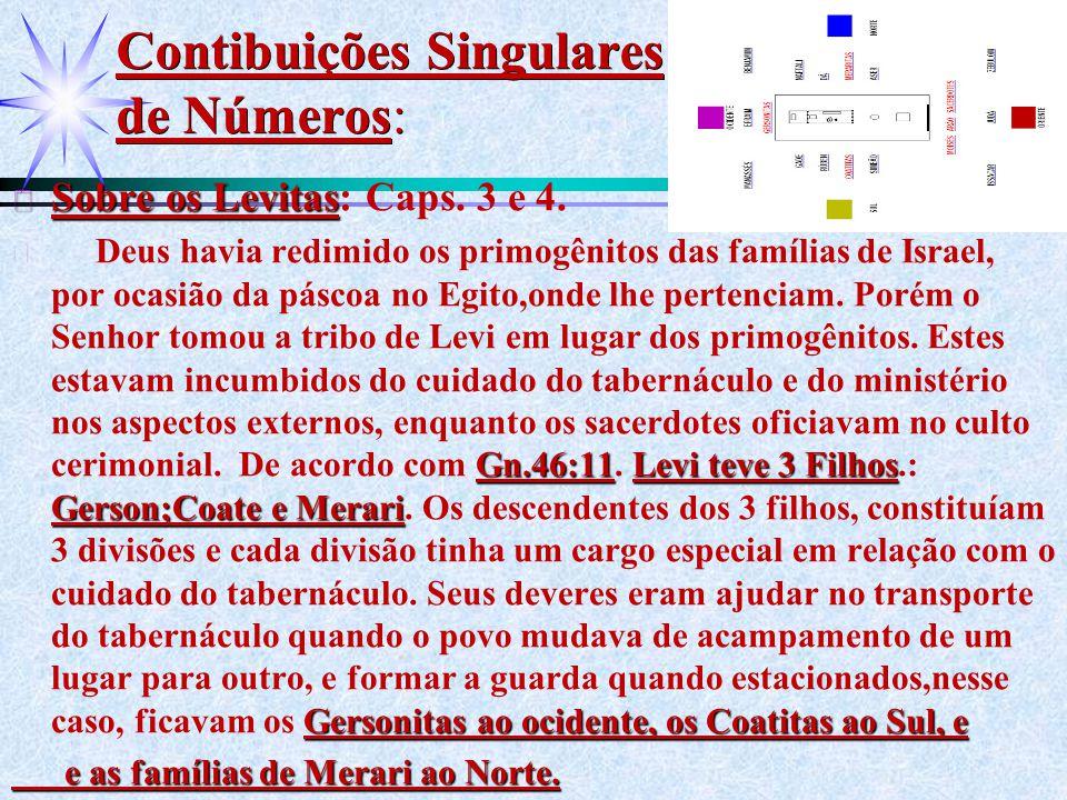 Contibuições Singulares de Números: ä Sobre os Levitas ä Sobre os Levitas: Caps. 3 e 4. ä Gn.46:11Levi teve 3 Filhos Gerson;Coate e Merari Gersonitas